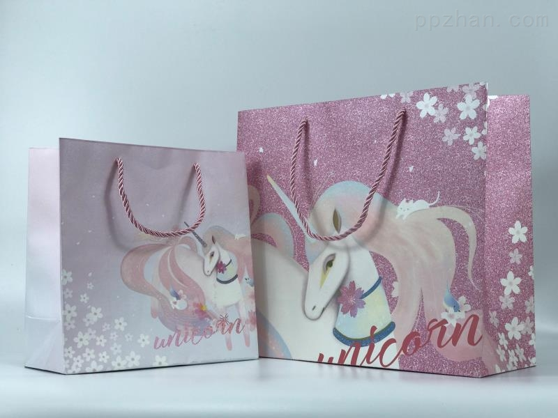 ins独角兽礼品袋 化妆品袋 包装手提纸袋