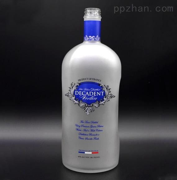 蒙砂工艺玻璃酒瓶500ml